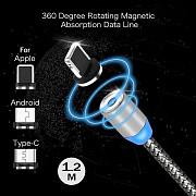 Магнитный кабель 3 в 1 – Iphone, Microusb, Type-c Алматы