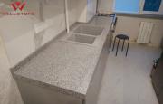 Столешница акриловый камень серая на кухню под гранит Алматы
