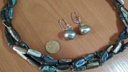 Комплект ожерелье натуральный перламутр 3 нити и серьги Алматы
